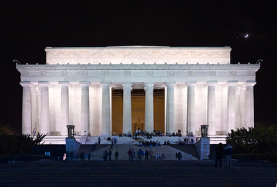 Lincoln Memorial with Crescent Moon and Venus