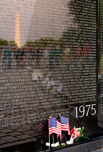 Vietnam Memorial with Washington Monument reflection