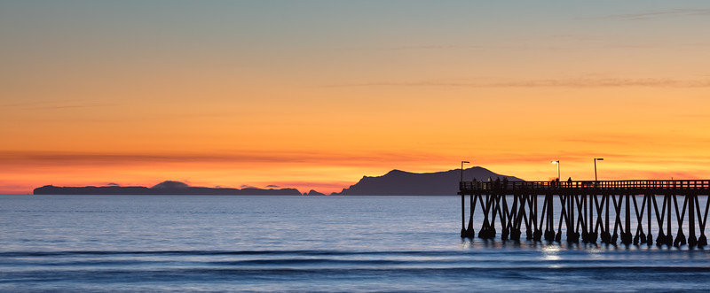 Anacapa Island and Hueneme Pier at Sunset