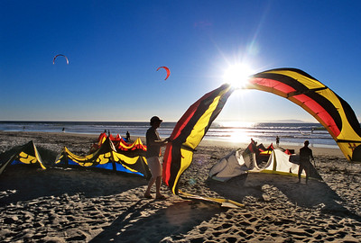 Kite surfers are often found at Surfer's Point at the Ventura Beach