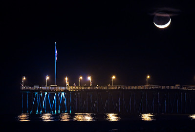 Moon Setting over the Ventura Pier