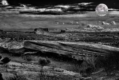Moonlit desert (composite photo)