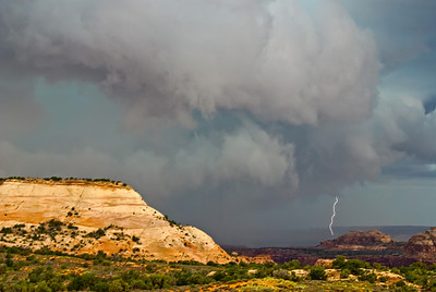 Lightning ahead of the storm, Canyonlands, Utah