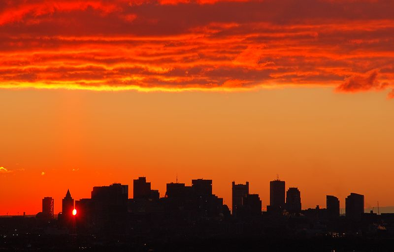 <b>Boston Sunrise - December 14th</b>   (Dec 14, 2004, 07:05am)  <p align=left>The sun appears between two buildings of downtown Boston.  This was taken from Robins Farm in Arlington.</p>