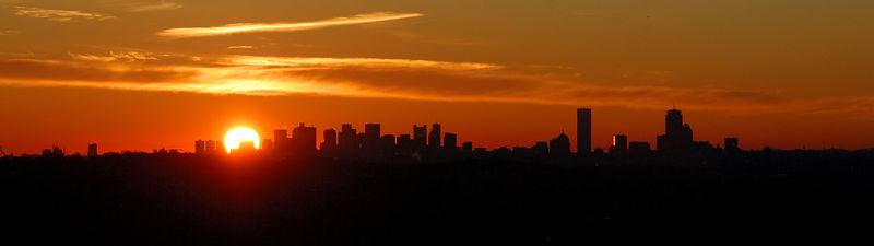 <b>Boston sunrise panorama</b><br/>   (Mar 02, 2006, 06:18am)  <p align=left>This was also from Prospect Hill Park in Waltham.  Here I zoomed out to catch the whole Boston skyline soon after sunrise.</p> <p align=left>(Gallery: Joel > Sunrise in Boston)</p>