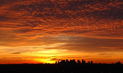 Morning clouds rolling into Boston   (Dec 06, 2004, 06:55am)  Boston from Robbins Farm in Arlington.  The pre-dawn sunlight reflecting off the incoming cloud bank made for a interesting picture while I waited for the sun to rise.  I had to zoom out to capture the clouds, so Boston is just a small section of the horizon.
