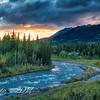 Sun Sets Over the Alaska Range