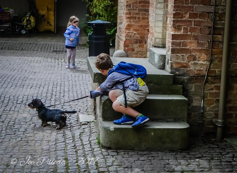 Boy & Dog Watching Girl