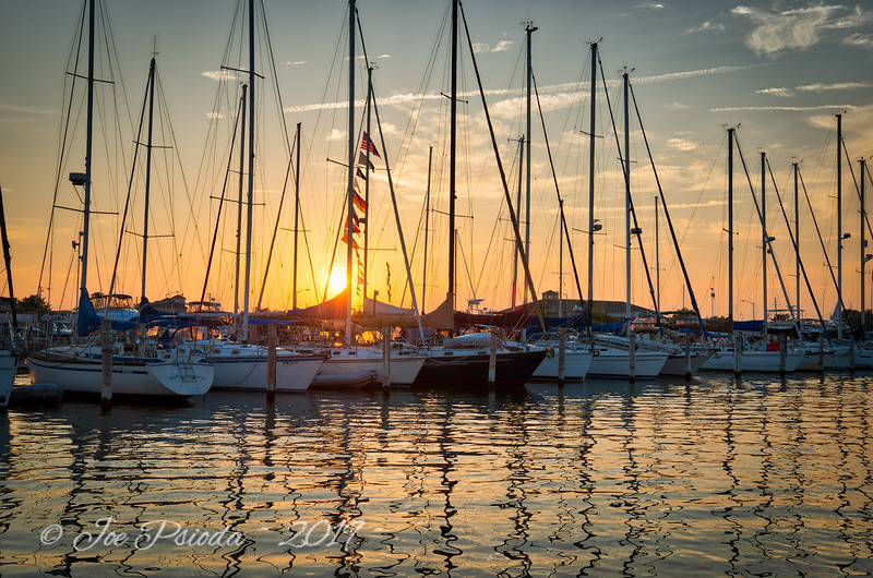 Sailboats Resting at Sunset