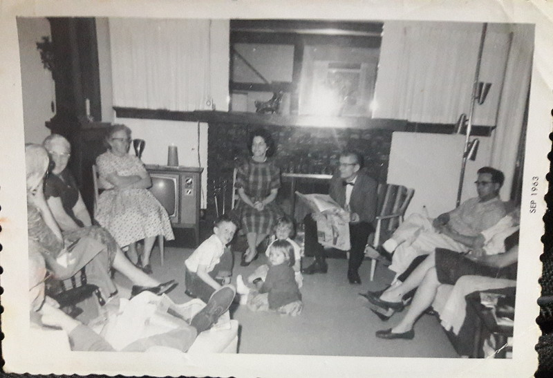 September 1963 Photo taken at my Aunt Sue Webb house on 18th street N.E. Cedar Rapids Iowa From left My Grandfather Walter BACK OF HIS HEAD, Grandmother Phillips, Pauline Albertson, Aunt Sue, Pastor Stokes,  and my Father and Mother