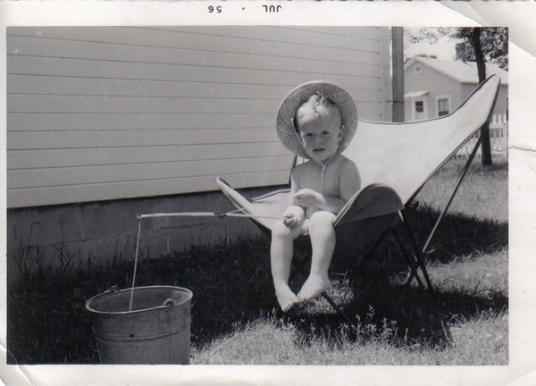 Fishing 1956. I am almost 3 years old here. I actually remember this photograph being taken on the north side of my parents house in Toddville Iowa. Just outside my bedroom window. I had really great parents, they gave me my own bedroom and also one for my sister LouAnn when she came along in April of 1957 the following spring
