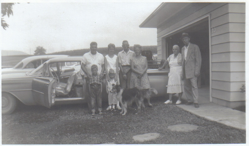 Approx. 1960. Bud Phillips, Sally Ruckle, Bud and Pauline Albertson, Grandmother and Grandfather Phillips. John & LouAnn