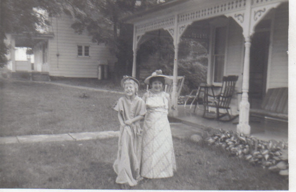 My sister LouAnn on the Left with Christine Robbins. Standing in front of Uncle Delbert and Aunt Louise Home In Pennsylvania