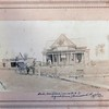 """The old home at Independence Missouri where we lived June 1892 - June 1895. <br /> Words from front, left to right:<br /> Lexington Road, """"Bert"""" our horse, facing west, <br /> Dad (in chair) Ann Eliza Collins, James Ancil Greenwood, Sarah Ann Greenwood Furber.<br /> (all notes from Sarah Ann Greenwood Furber)"""