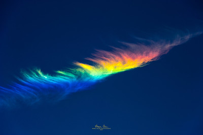 "Circumhorizontal Arc (also known as a ""fire rainbow""), observed near John Day, Oregon on July 2, 2014.  For more information about this phenomenon, read this: https://en.wikipedia.org/wiki/Circumhorizontal_arc"