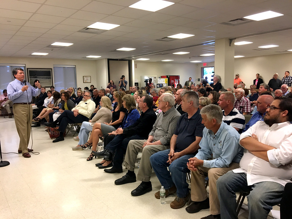. John Faso addresses a full house of around 200 constituents, both supporters and non-supportes in the Town of Ulster Town Hall on Aug. 31.  Tania Barricklo�Daily Freeman.