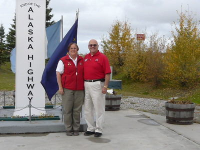 Dale and Colleen Easley at the end of the Alaska Highway in Delta Junction, Alaska.