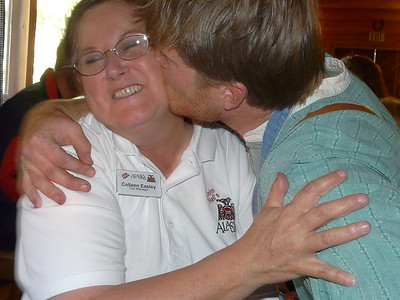 Colleen's turn to get kissed at Alaska Cabin Nite in Denali, Alaska!