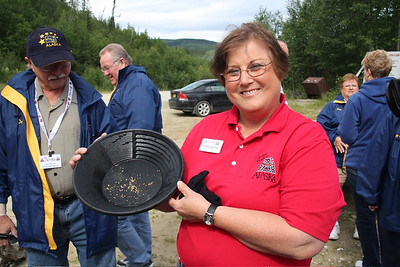 Colleen strikes it rich in Dawson City, YT - yah right!  Photo by Becky Gould