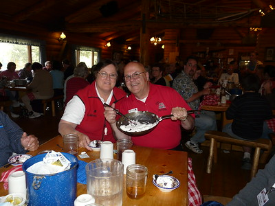 Dessert time for Dale and Colleen at Alaska Cabin Nite Dinner Theater in Denali National Park.