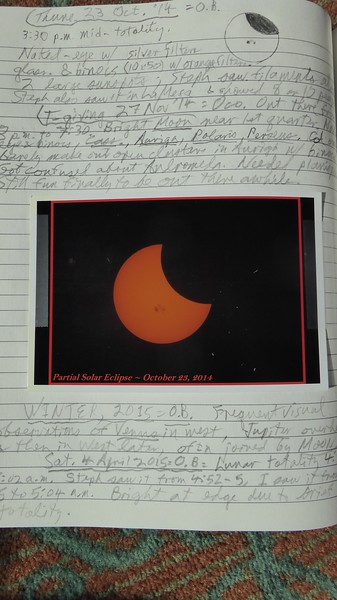John's Astro notebook with Jeanie's image of partial solar eclipse with massive sunspots in 2015.
