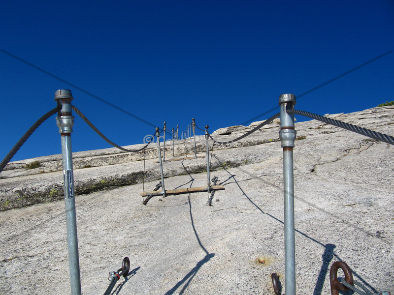 A rare moment of solitude on the Half Dome cables, Yosemite National Park.