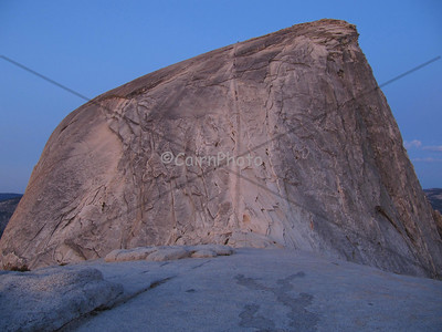 Half Dome by early, pre-sunrise pink light.