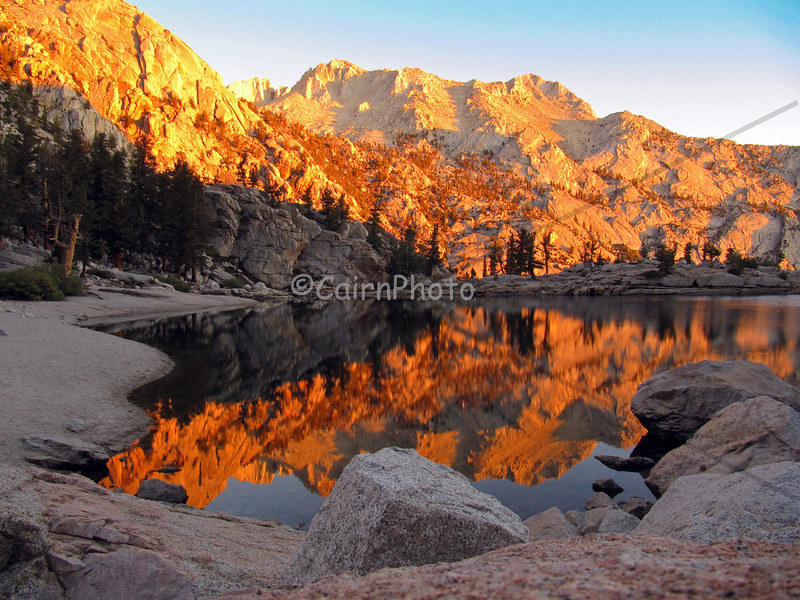 Spectacular sunrise at Lone Pine Lake on the Mt. Whitney trail.