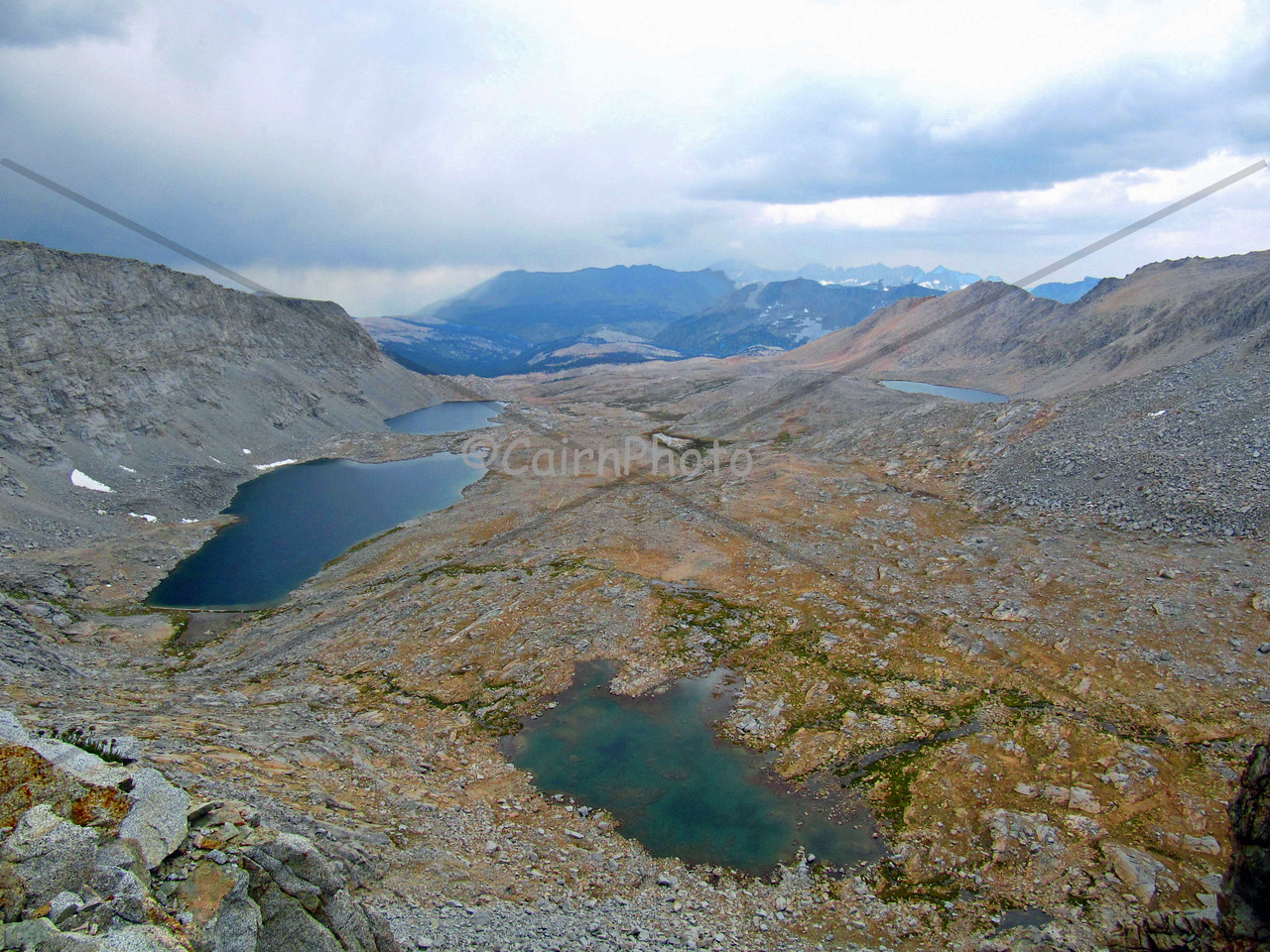 Looking south from Forester Pass on a stormy afternoon.  Forester Pass is 13,153 feet high and is the highest pass on the John Muir Trail.