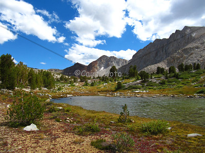 This unnamed lake was shallow and warm (on a very cold day).  It's just south of the Bench Lake cutoff and north of Pinchot Pass.