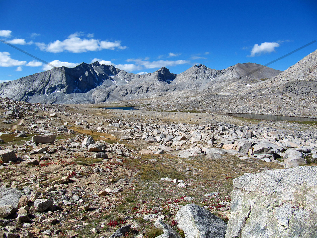 The lovely Upper Basin, just south of Mather pass.  The mountain range in the background includes the Vennacher Needle (12,996).