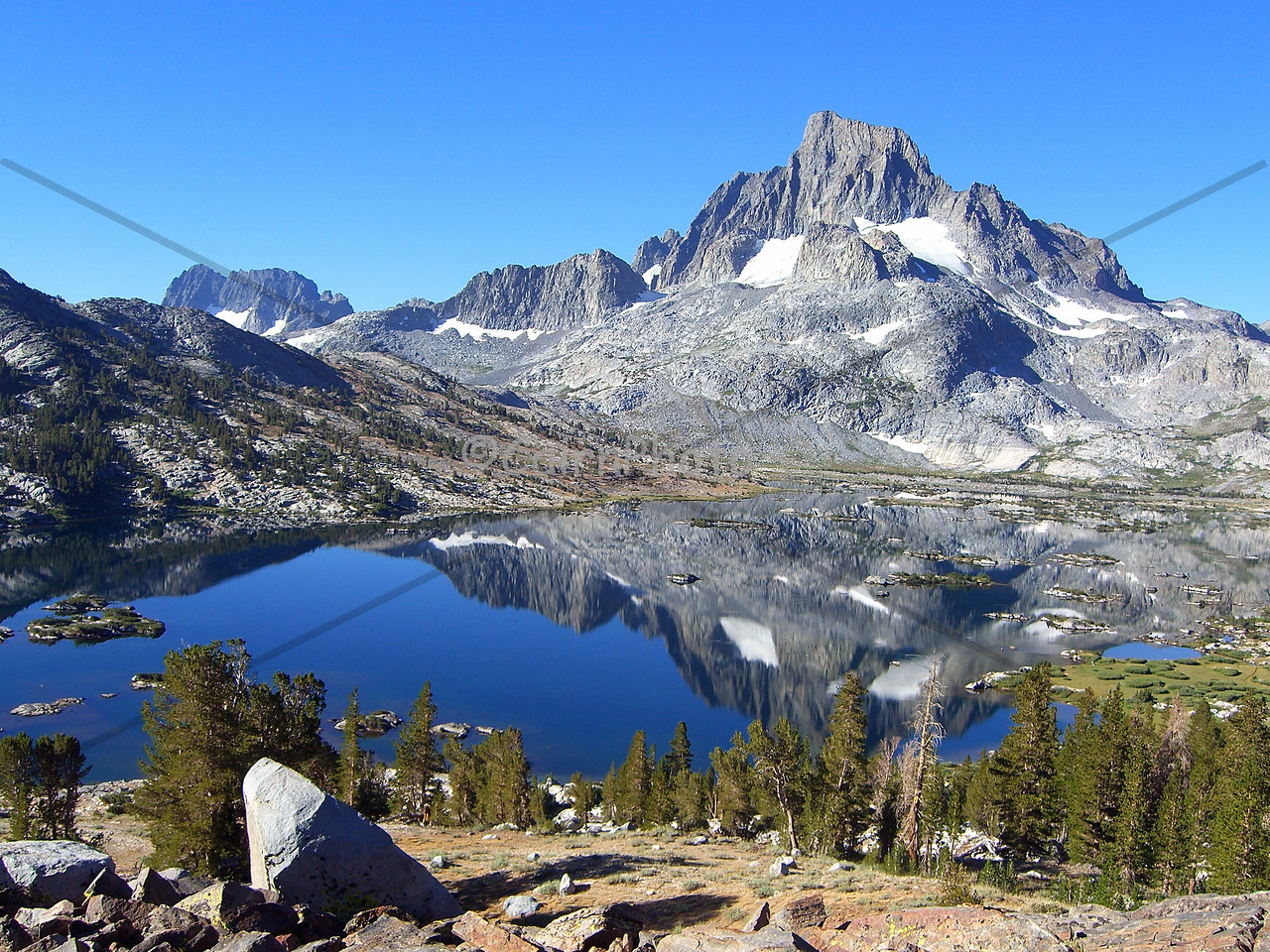 This is beautiful1000 Island lake (near Mammoth Mountain).  Banner Peak is proudly reflected in the water.