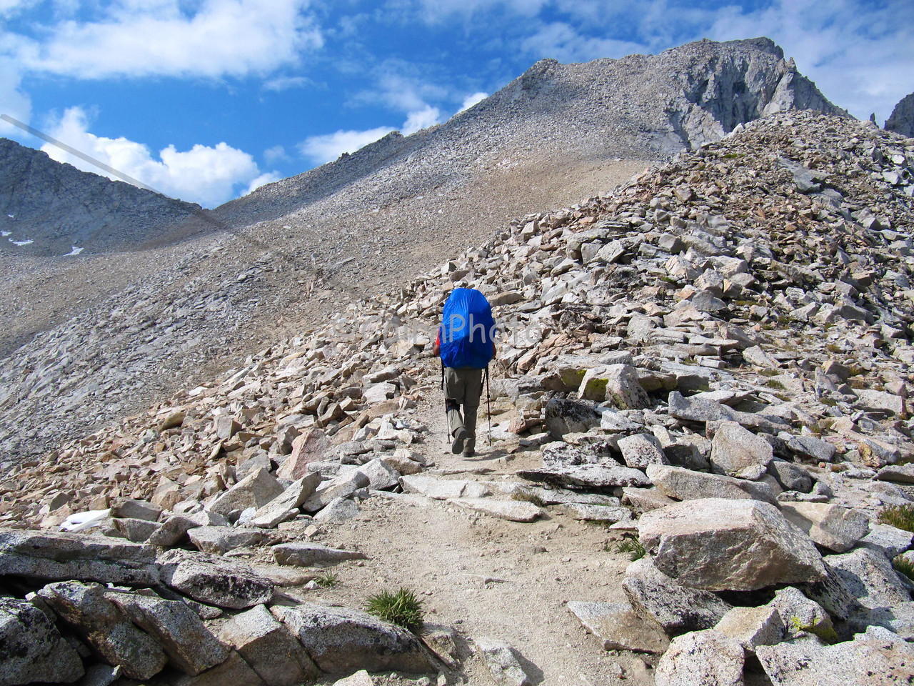 Climbing Forester Pass, the highest pass on the JMT and the PCT.