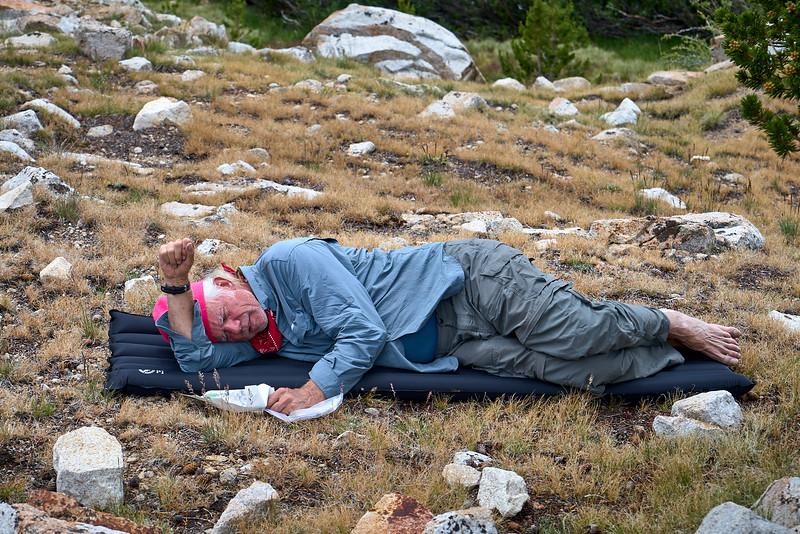Rick resting near Tyndall Creek.