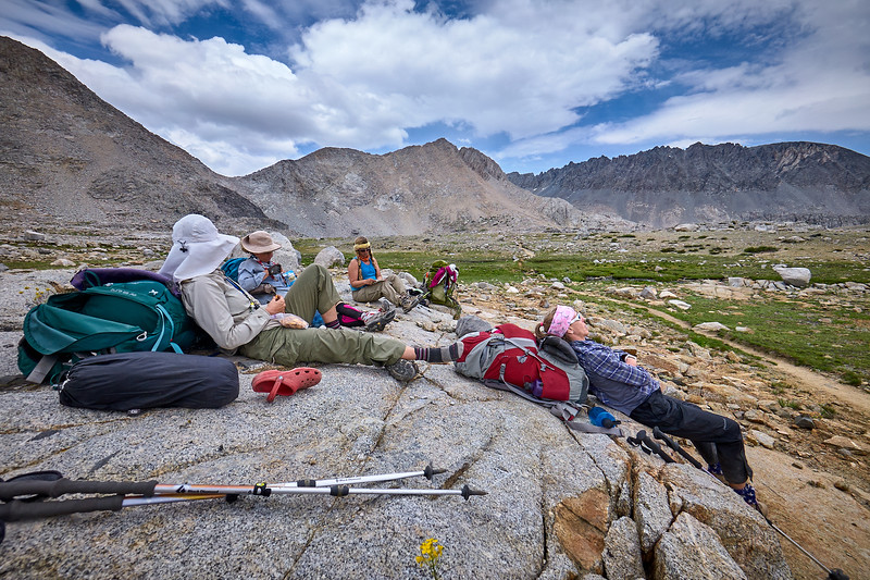 Tammy, Mary, Margie, and Patti taking a break after Mather Pass.  Mile 152.