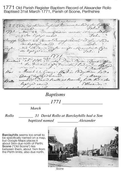 1771 Alexander Rollo OPR Baptism Record