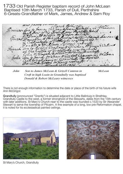 1733 John McLean OPR Baptism