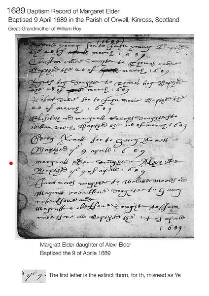 1689 Baptism Margaret Elder