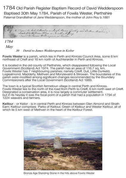 1784 David Wedderspoon OPR Birth Record