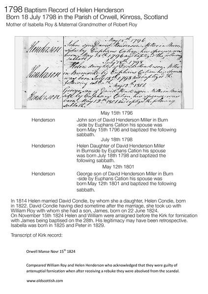 1798 Baptism Helen Henderson