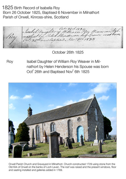 1825 Birth Record Isabella Roy