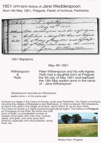 1851 Jane Wedderspoon OPR Birth Notice