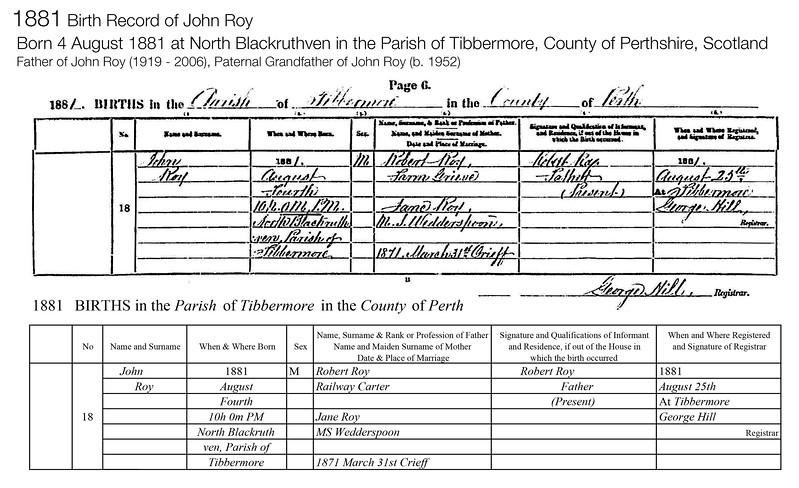 1881 Birth John Roy