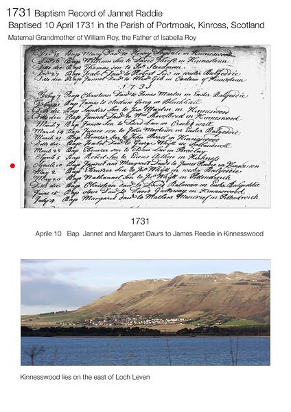 1731 Baptism Jannet Raddie