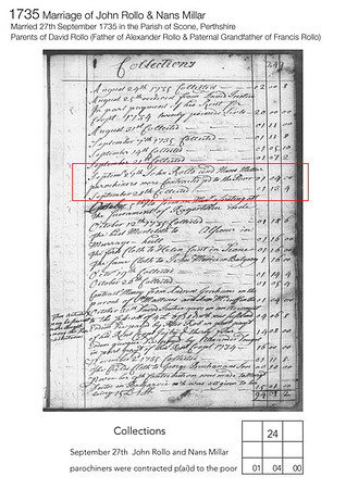 1735 Marriage John Rollo Nans Millar