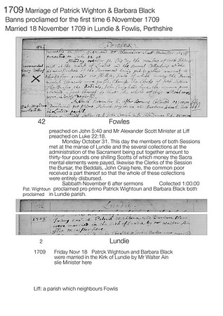 1709 Patrick Wighton Barbara Black Banns & Marriage