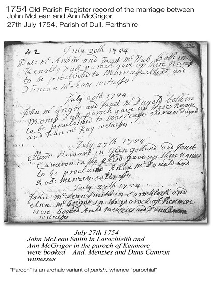 1754 McLean-McGrigor Marriage