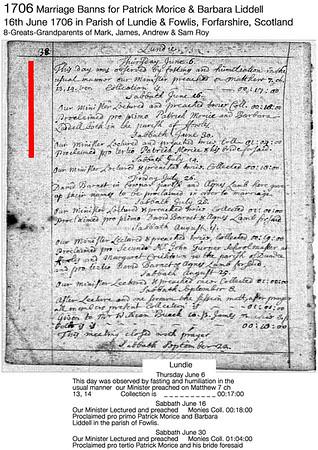 1706 Banns Patrick Morice-Barbara Liddell