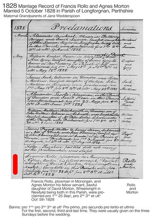 1828 Francis Rollo Agnes Morton Marriage Record