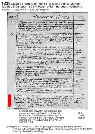 1828 Francis Rollo Agnes Morton Marriage Record